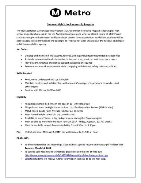 SUMMER H.S. SCHOOL INTERNSHIP PROGRAM