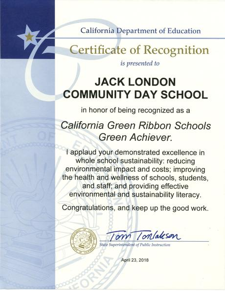 Jack London CDS Receives California Green Ribbon Schools Green Achiever Award